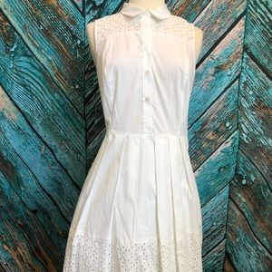 NWT Ann Taylor White Eyelet Pinup Collared Dress
